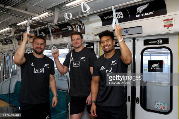 Dane Coles, Scott Barrett and Ardie Savea of the All Blacks host Japanese media on a train to the launch of the New Zealand Says 39 campaign on...