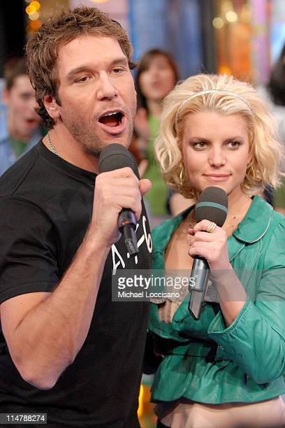 Dane Cook and Jessica Simpson during Jessica Simpson and Dane Cook Visit MTV's 'TRL' October 4 2006 at MTV Studios in New York City New York United...
