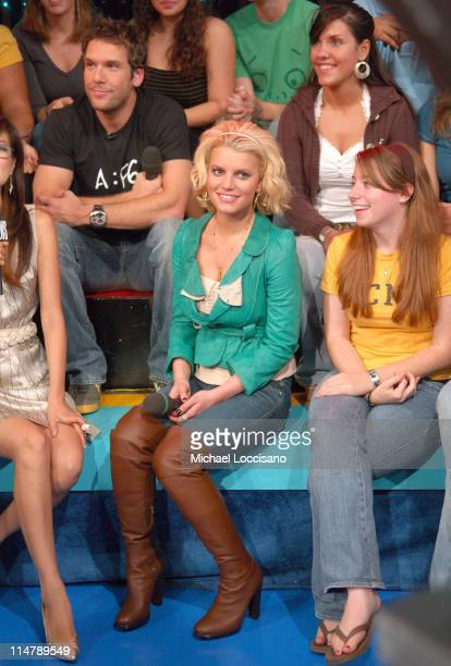 Dane Cook and Jessica Simpson during Jessica Simpson and Dane Cook Visit MTV's TRL October 4 2006 at MTV Studios in New York City New York United...