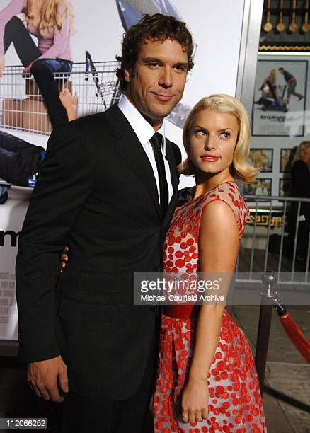 Dane Cook and Jessica Simpson during LionsGate's Employee of the Month Los Angeles Premiere at Mann's Chinese Theater in Hollywood California United...
