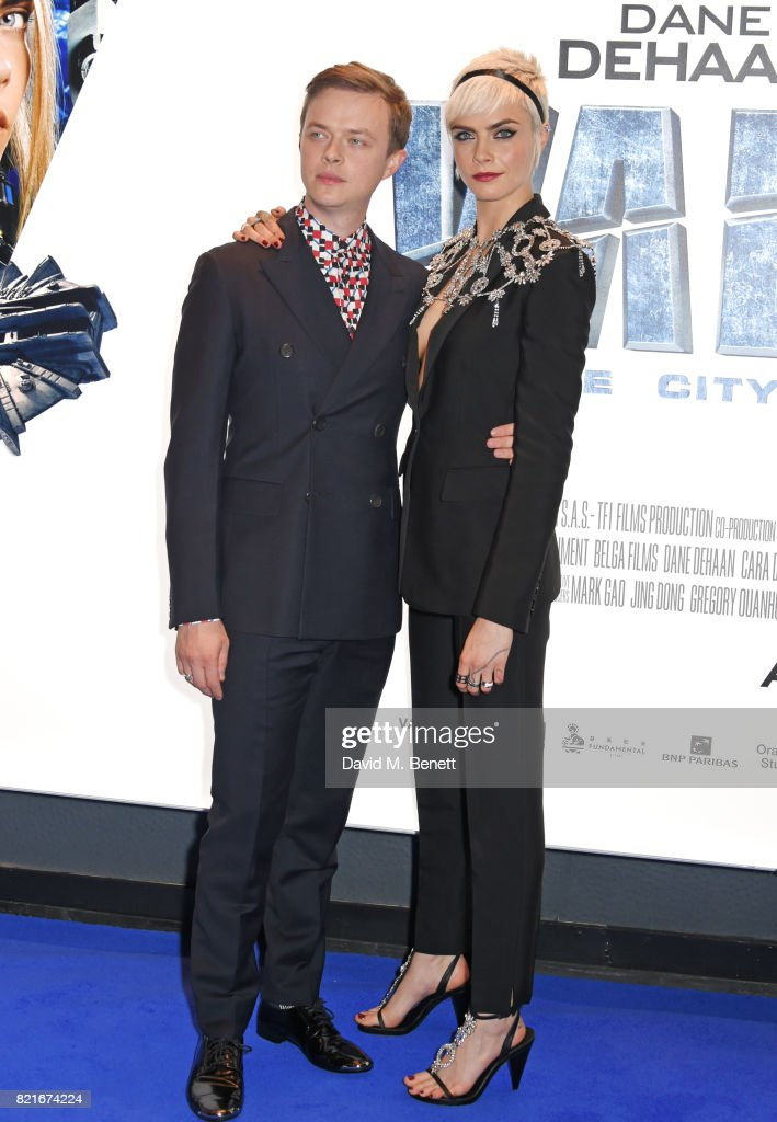 Dane DeHaan (L) and Cara Delevingne attend the European Premiere of 'Valerian And The City Of A Thousand Planets' at Cineworld Leicester Square on July 24, 2017 in London, England.