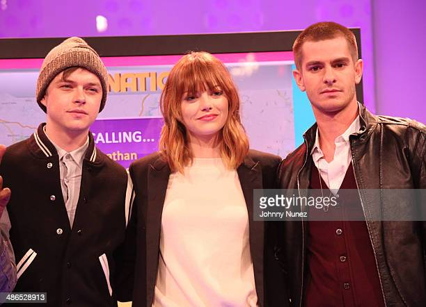 Dane DeHaan Emma Stone and Andrew Garfield visit BET's '106 Park' at BET Studios on April 24 2014 in New York City