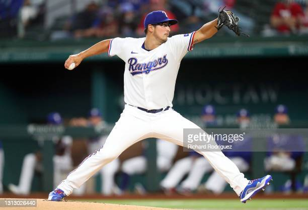 Dane Dunning of the Texas Rangers pitches against the Baltimore Orioles in the first inning at Globe Life Field on April 17, 2021 in Arlington, Texas.