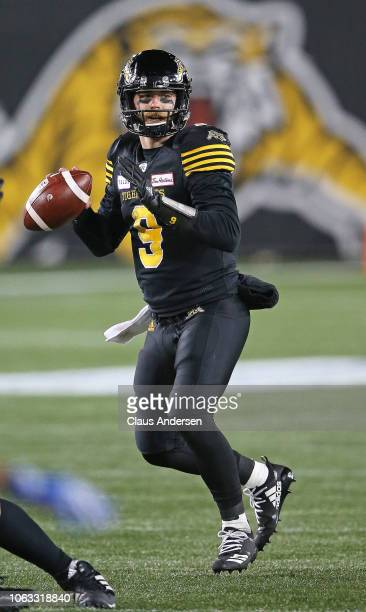 Dane Evans of the Hamilton TigerCats gets set to make a pass against the Montreal Alouettes in a CFL game at Tim Hortons Field on November 3 2018 in...
