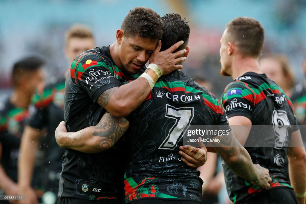 Dane Gagai embraces Adam Reynolds of the Rabbitohs during the round 10 NRL match between the South Sydney Rabbitohs and the St George Illawarra Dragons at ANZ Stadium on May 13, 2018 in Sydney, Australia.