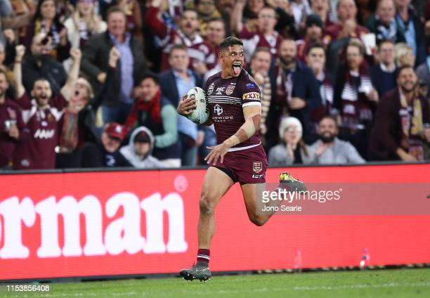 Dane Gagai of QLD 1breaks free to score a try during game one of the 2019 State of Origin series between the Queensland Maroons and the New South...