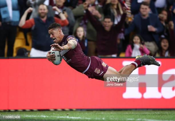 Dane Gagai of QLD scores a try during game one of the 2019 State of Origin series between the Queensland Maroons and the New South Wales Blues at...