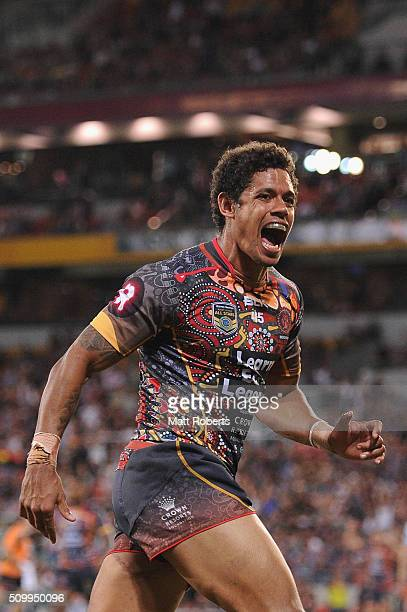 Dane Gagai of the Indigenous All Stars celebrates scoring a try during the NRL match between the Indigenous AllStars and the World AllStars at...