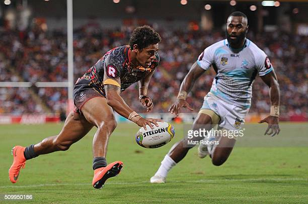 Dane Gagai of the Indigenous All Stars scores a try during the NRL match between the Indigenous AllStars and the World AllStars at Suncorp Stadium on...
