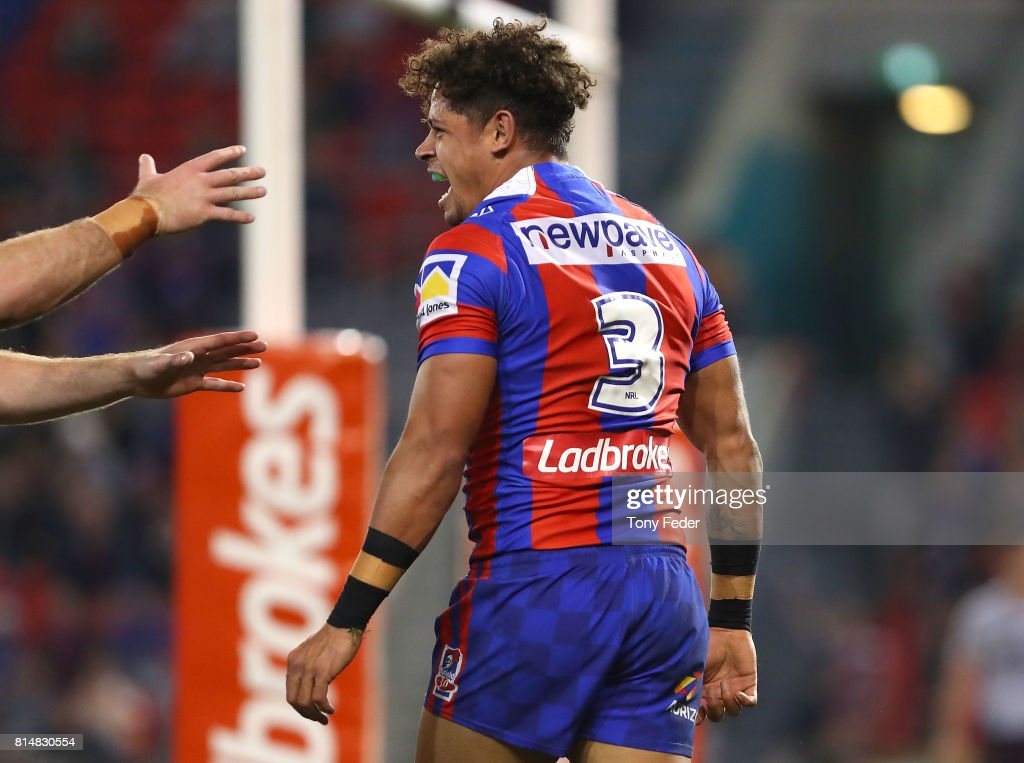 Dane Gagai of the Knights celebrates a try during the round 19 NRL match between the Newcastle Knights and the Brisbane Broncos at McDonald Jones Stadium on July 15, 2017 in Newcastle, Australia.