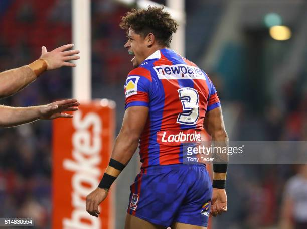 Dane Gagai of the Knights celebrates a try during the round 19 NRL match between the Newcastle Knights and the Brisbane Broncos at McDonald Jones...