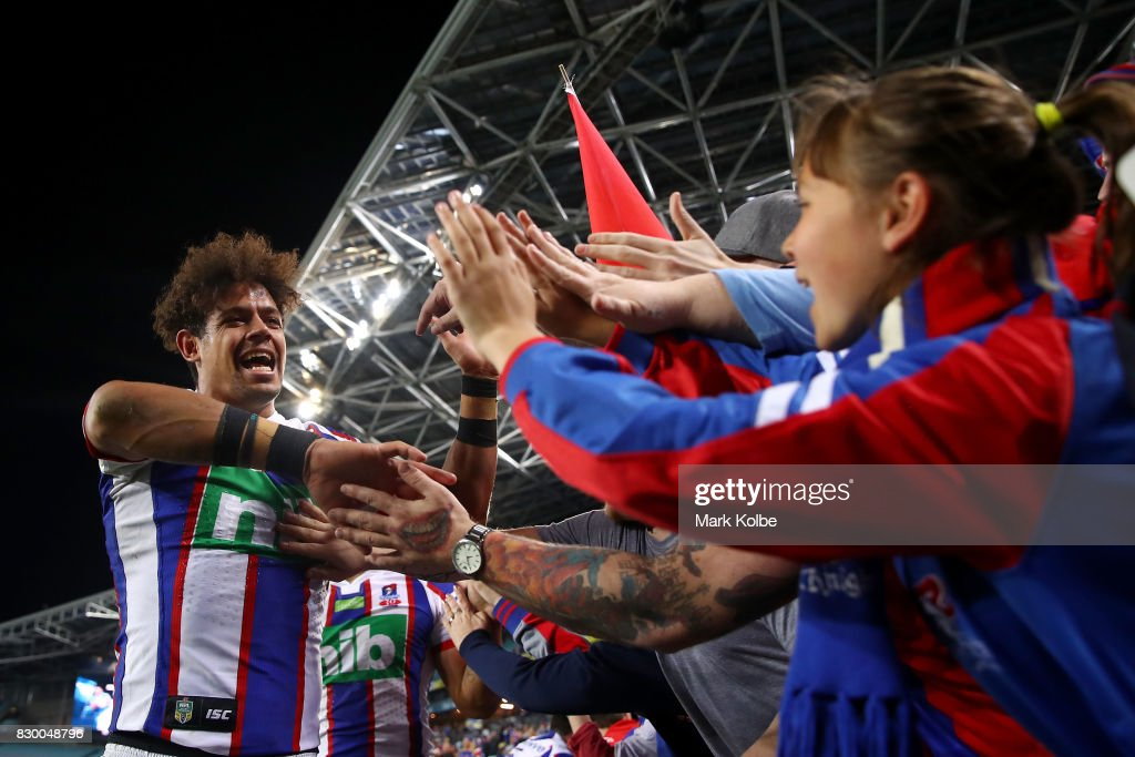Dane Gagai of the Knights celebrates victory with the crowd during the round 23 NRL match between the Parramatta Eels and the Newcastle Knights at ANZ Stadium on August 11, 2017 in Sydney, Australia.