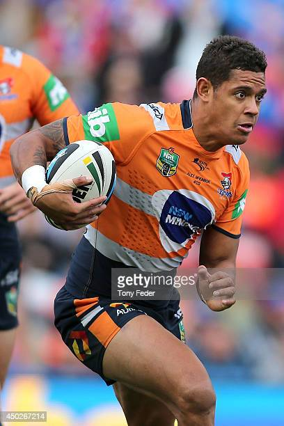 Dane Gagai of the Knights in action during the round 13 NRL match between the Newcastle Knights and the Wests Tigers at Hunter Stadium on June 8 2014...