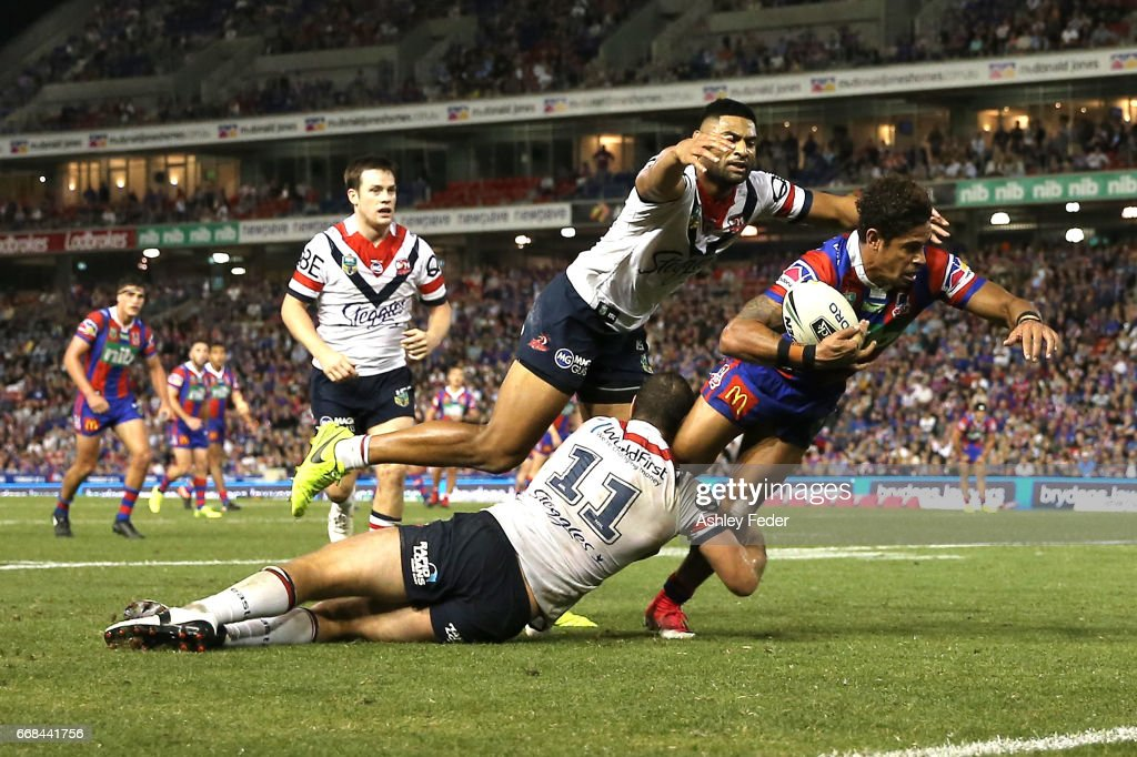 Dane Gagai of the Knights in action during the round seven NRL match between the Newcastle Knights and the Sydney Roosters at McDonald Jones Stadium on April 14, 2017 in Newcastle, Australia.