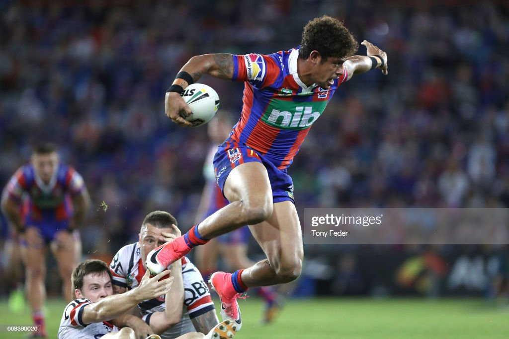 Dane Gagai of the Knights jumps out of a tackle during the round seven NRL match between the Newcastle Knights and the Sydney Roosters at McDonald Jones Stadium on April 14, 2017 in Newcastle, Australia.