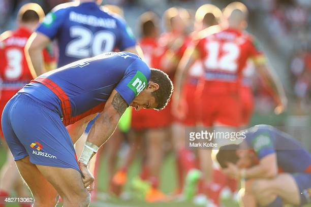Dane Gagai of the Knights looks dejected after a dragons try during the round 21 NRL match between the St George Illawarra Dragons and the Newcastle...