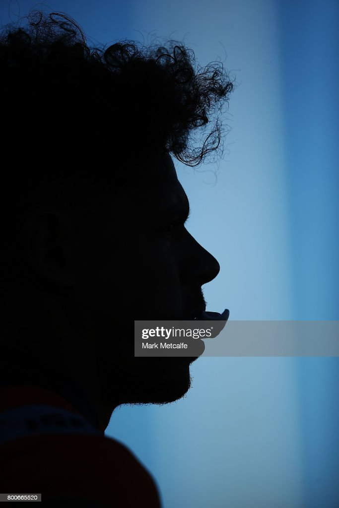 Dane Gagai of the Knights looks on during the round 16 NRL match between the St George Illawarra Dragons and the Newcastle Knights at UOW Jubilee Oval on June 25, 2017 in Sydney, Australia.