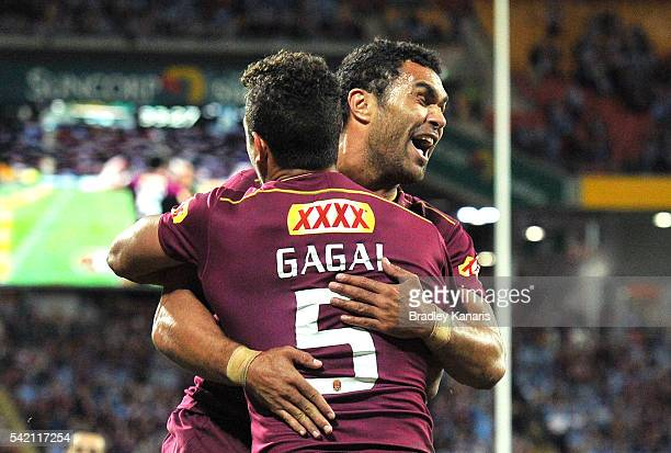 Dane Gagai of the Maroons celebrates scoring a try with Justin O'Neill during game two of the State Of Origin series between the Queensland Maroons...