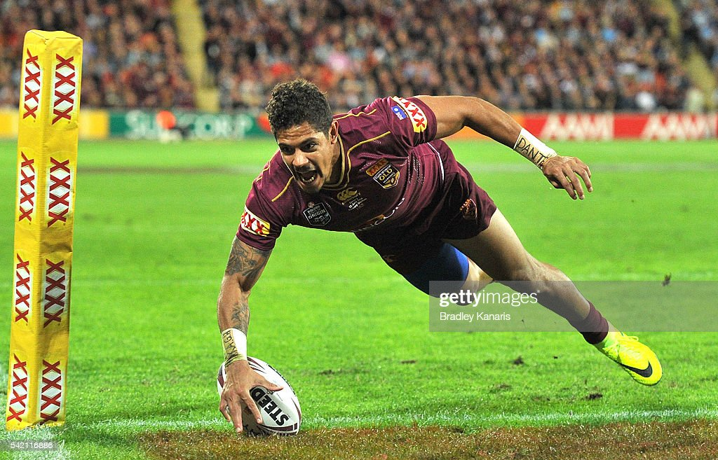 Dane Gagai of the Maroons scores a try during game two of the State Of Origin series between the Queensland Maroons and the New South Wales Blues at Suncorp Stadium on June 22, 2016 in Brisbane, Australia.