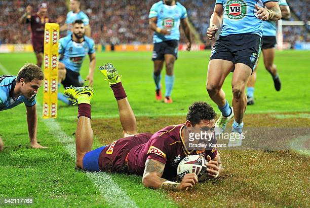 Dane Gagai of the Maroons scores a try during game two of the State Of Origin series between the Queensland Maroons and the New South Wales Blues at...
