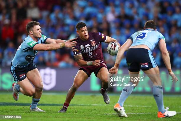Dane Gagai of the Maroons takes on the defence during game one of the 2019 State of Origin series between the Queensland Maroons and the New South...