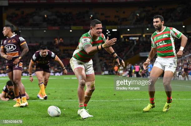 Dane Gagai of the Rabbitohs celebrates after scoring a try during the round 15 NRL match between the Brisbane Broncos and the South Sydney Rabbitohs...