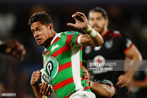 Dane Gagai of the Rabbitohs makes a break during the round 12 NRL match between the New Zealand Warriors and the South Sydney Rabbitohs at Mt Smart...