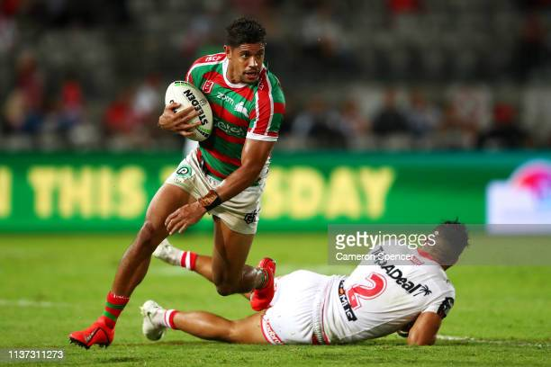 Dane Gagai of the Rabbitohs makes a break during the round two NRL match between the St George Illawarra Dragons and the South Sydney Rabbitohs at...