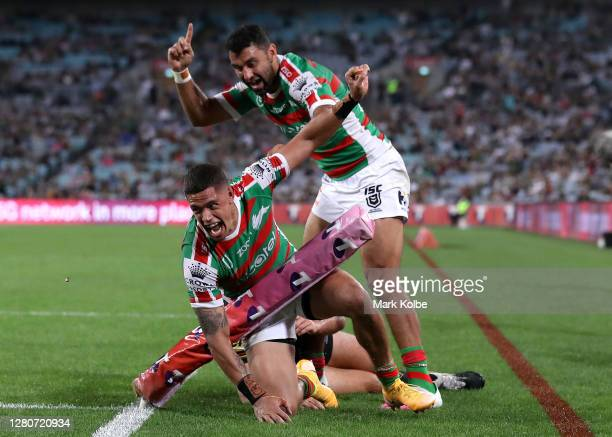 Dane Gagai of the Rabbitohs scores a try during the NRL Preliminary Final match between the Penrith Panthers and the South Sydney Rabbitohs at ANZ...