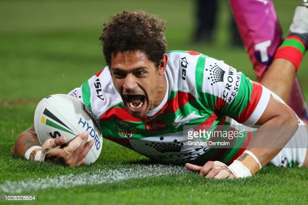 Dane Gagai of the Rabbitohs scores a try during the NRL Qualifying Final match between the Melbourne Storm and the South Sydney Rabbitohs at AAMI...