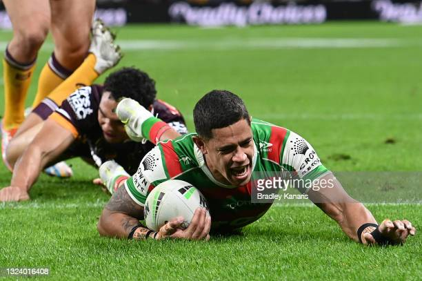 Dane Gagai of the Rabbitohs scores a try during the round 15 NRL match between the Brisbane Broncos and the South Sydney Rabbitohs at Suncorp...