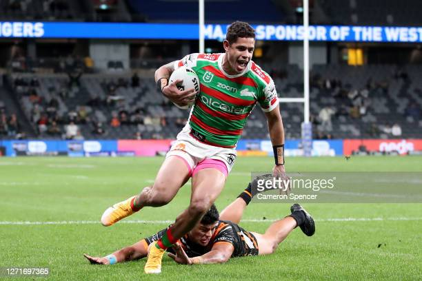 Dane Gagai of the Rabbitohs scores a try during the round 18 NRL match between the Wests Tigers and the South Sydney Rabbitohs at Bankwest Stadium on...