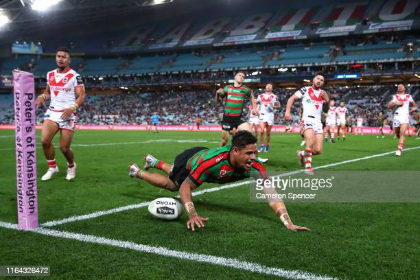 Dane Gagai of the Rabbitohs scores a try during the round 19 NRL match between the South Sydney Rabbitohs and the St George Illawarra Dragons at ANZ...