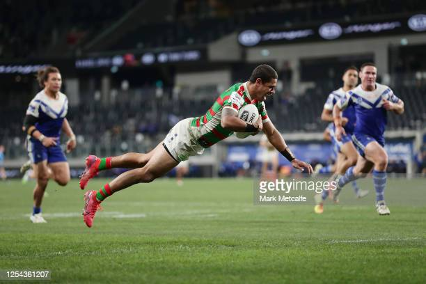 Dane Gagai of the Rabbitohs scores a try during the round eight NRL match between the Canterbury Bulldogs and the South Sydney Rabbitohs at Bankwest...