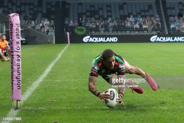 Dane Gagai of the Rabbitohs scores a try during the round five NRL match between the South Sydney Rabbitohs and the Gold Coast Titans at Bankwest...