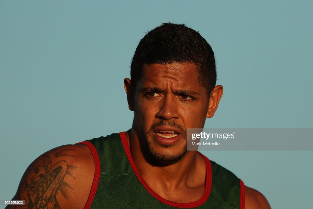 Dane Gagai of the Rabbitohs warms up before the NRL trial match between the South Sydney Rabbitohs and the St George Illawarra Dragons at Glen Willow Regional Sports Stadium on February 24, 2018 in Mudgee, Australia.