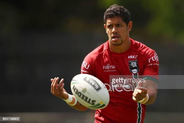 Dane Gagai passes during a South Sydney Rabbitohs NRL Training Session at Redfern Oval on March 20 2018 in Sydney Australia
