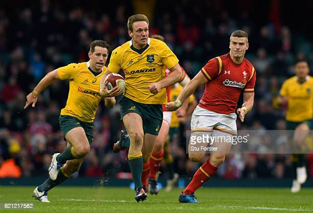 Dane HaylettPetty of Australia breaks away to score his team's fifth try during the international match between Wales and Australia at the...