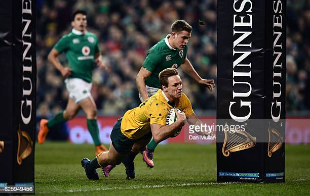 Dane HaylettPetty of Australia dives over to score his side's first try during the international match between Ireland and Australia at the Aviva...