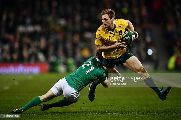Dane HaylettPetty of Australia is tackled by Kieran Marmion of Ireland during the international match between Ireland and Australia at the Aviva...