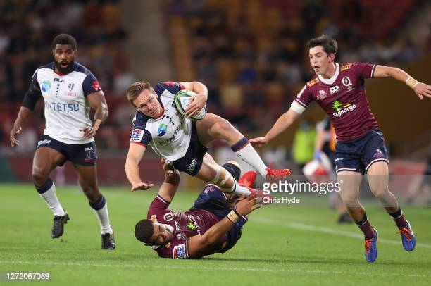Dane Haylett-Petty of the Rebels attempts to make a break during the Qualifying Final Super Rugby AU match between the Queensland Reds and Melbourne...