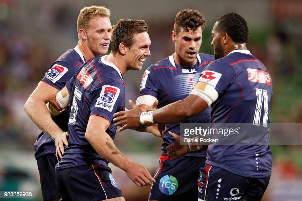 Dane HaylettPetty of the Rebels celebrates a try with teammates during the round two Super Rugby match between the Melbourne Rebels and the...