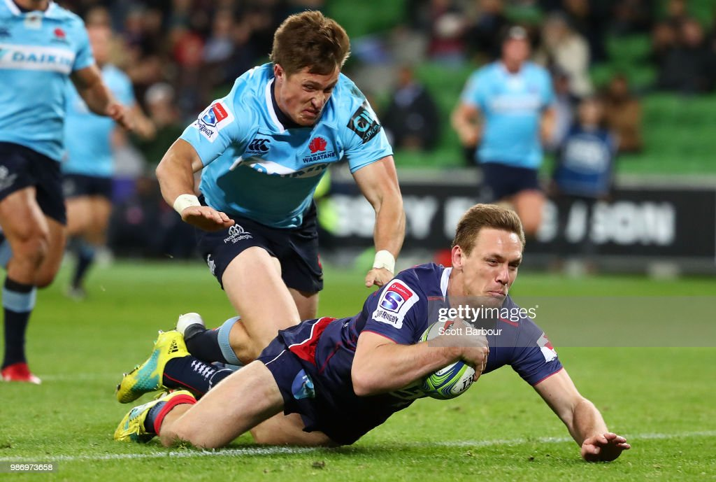 Dane Haylett-Petty of the Rebels dives to score a try during the round 17 Super Rugby match between the Rebels and the Waratahs at AAMI Park on June 29, 2018 in Melbourne, Australia.