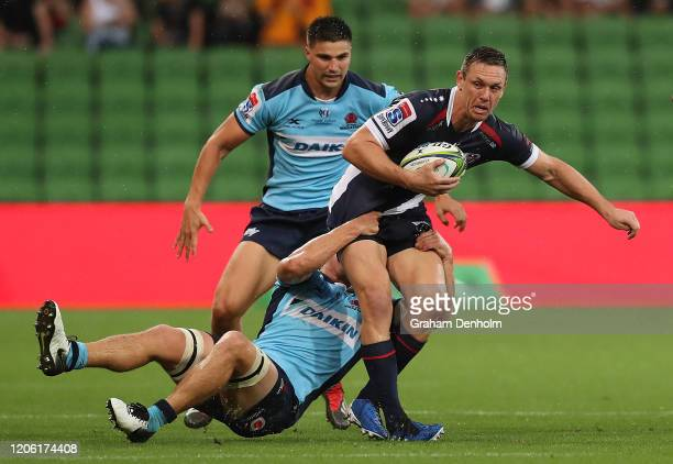 Dane Haylett-Petty of the Rebels is tackled during the round 3 Super Rugby match between the Rebels and the Waratahs at AAMI Park on February 14,...