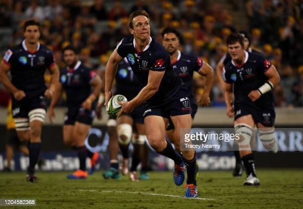 Dane Haylett-Petty of the Rebels scores a try during the round 2 Super Rugby match between the Brumbies and the Rebels at GIO Stadium on February 07,...