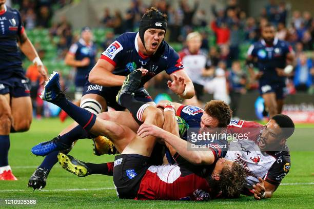 Dane Haylett-Petty of the Rebels scores a try during the round six Super Rugby match between the Rebels and the Lions at on March 07, 2020 in...