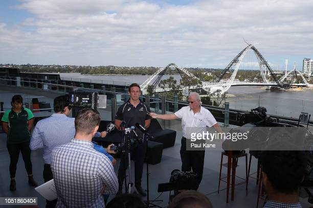 Dane HaylettPetty of the Wallabies addresses the media during a press conference at Optus Stadium on October 11 2018 in Perth Australia