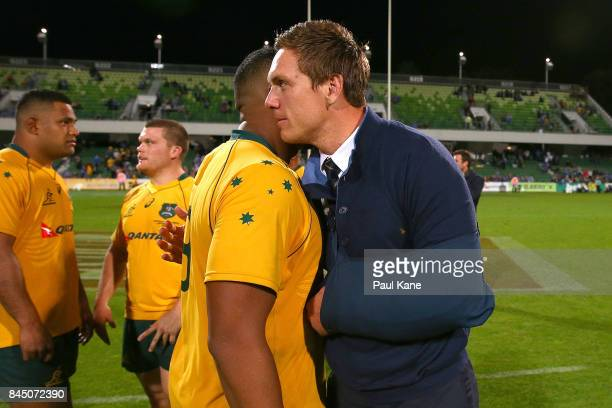 Dane HaylettPetty of the Wallabies embraces Sekope Kepu after The Rugby Championship match between the Australian Wallabies and the South Africa...