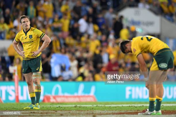 Dane HaylettPetty of the Wallabies looks dejected after the Wallabies loss during The Rugby Championship match between the Australian Wallabies and...
