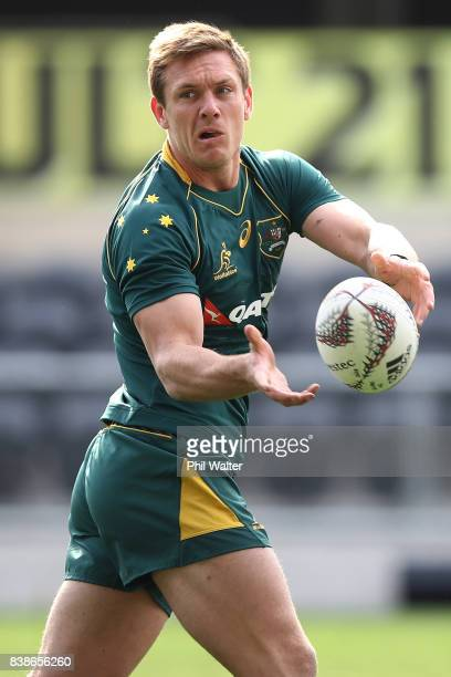 Dane HaylettPetty of the Wallabies passes during an Australia Wallabies Captain's Run at Forsyth Barr Stadium on August 25 2017 in Dunedin New Zealand